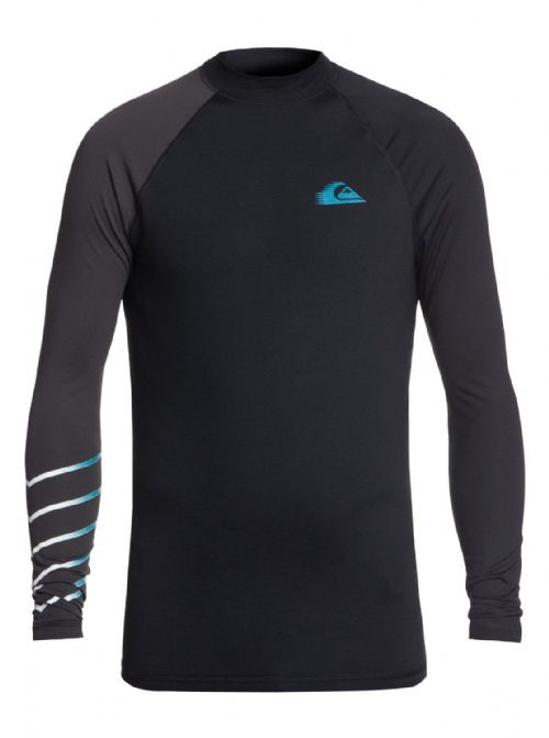 QUIKSILVER MENS RASH VEST.NEW ACTIVE BLACK UPF50+ GUARD LONG SLEEVE TOP 8W 13 KV